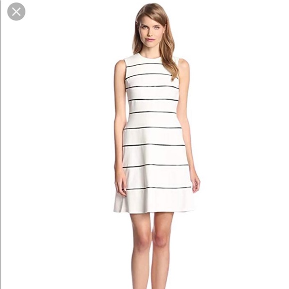 Calvin Klein Dresses & Skirts - Calvin Klein Striped Faux Leather Flare Dress 2
